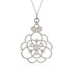 "Ross-Simons - 1.10 ct. t.w. Diamond Rose Pendant Necklace in 14kt White Gold. 18"" - #812965"