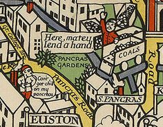 There's a work-shy gentleman on Pancras Road. | 9 Wonderful Details From A Hundred-Year-Old Map Of The London Underground