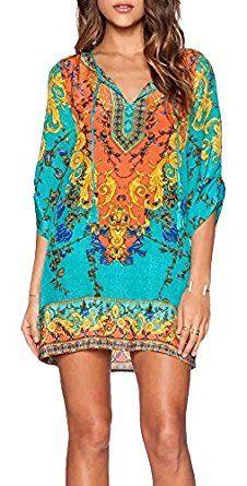 Women Bohemian Neck Tie Vintage Printed Ethnic Style Summer Shift Dress Price: $18.85