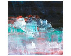 """Original Abstract painting by Dallas artist Paul Ashby. Abstract oil painting on board Prussian Blue, Turquoise, White, Red.12"""" X 12"""" square on birch plywood panel, ready to hang! LucentColor.etsy.com"""
