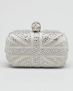 Crystal Britannia Box Clutch, Gray by Alexander McQueen at Bergdorf Goodman.
