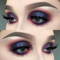 Beautiful eye makeup looks, evening Christmas party look. Dark eyes, pink crease.