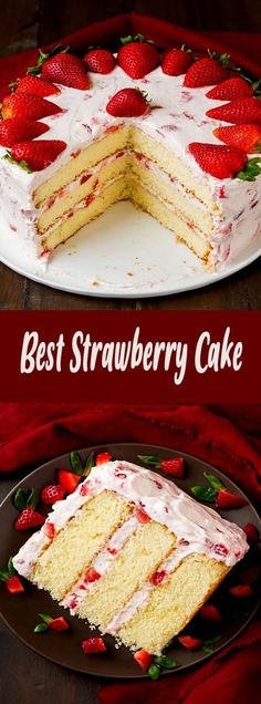 The only Strawberry Cake recipe you will ever need!You can find Strawberry cake recipe and more on our website.The only Strawberry Cake recipe you will ever need! Homemade Cake Recipes, Best Cake Recipes, Dessert Recipes, Desserts, Dessert Blog, Quick Recipes, Fresh Strawberry Cake, Strawberry Cake Recipes, Strawberry Cake Decorations