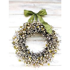Wedding Decor-Weddings-Fall Wedding-SAGE CREAM BERRY Wreath-Vintage... ($65) ❤ liked on Polyvore featuring home, home decor, holiday decorations, vintage home accessories, berry wreath, vintage holiday decor and holiday wreaths