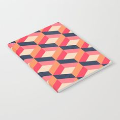 Retro Geo - Navy & Pink Notebook by Bluebanana - x Lined Chocolate Shoppe, Journal Entries, Navy Pink, Wraparound, Get One, Notebooks, Triangle, Minimal, Doodles