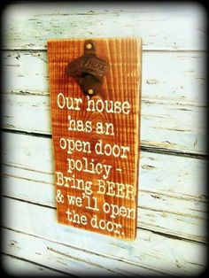Rustic Wooden Bottle Opener Sign Man Cave Decor (hippie crafts to sell) Man Cave Garage, Man Cave Diy, Man Cave Home Bar, Bar Signs, Wood Signs, Metal Signs, Garage Metal, Garage Bar, Garage Ideas