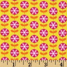 Timeless Treasures Harper Line Floral Yellow from @fabricdotcom  From Timeless Treasures, this vibrantly colored cotton print fabric features is perfect for creating quilts, home décor accents, craft projects and apparel. Colors include yellow, pink and orange.