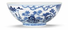 A rare 'Ming-style' blue and white bowl, Chenghua six-character mark, Kangxi period