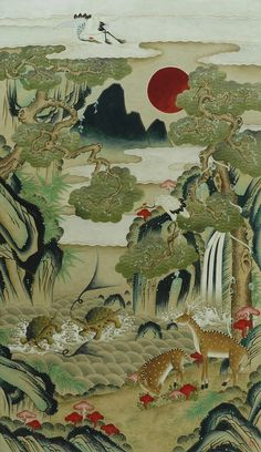 (Korea) Ten longevity symbols by unknown artist. ca century CE. Museum of Philadelphia, usa. Kunst Inspo, Art Inspo, Japanese Drawings, Japanese Art, Art And Illustration, Art Chinois, Korean Painting, Art Japonais, Korean Art