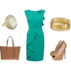 """""""Teal Dress"""" by achristie on Polyvore"""