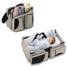 Travel Smart with this revolutionary travel bed! This is the ultimate travel bassinet for baby, combining acomfortable sleepwith the convenience of achange stationand the storage space of adiaper bag. Mom and Dad will love a single bag for all of baby's needs on your next vacation, or even just a trip to the mall. The travel system measures 30x15.5x7.5 inches open, making it appropriate for babies 0-12 ...