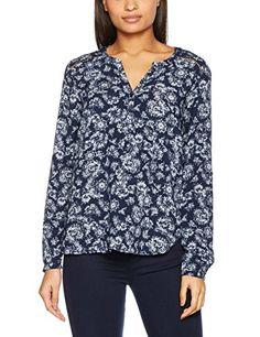 13a959a1eb96b TOM TAILOR Damen Bluse Lovely Print Blouse Blau (Real Navy Blue 6593) 42.