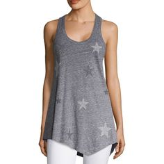 SUNDRY Heathered Star Stud Tank Top ($68) ❤ liked on Polyvore featuring tops, heather grey, scoop neck tank top, asymmetrical hem top, racerback tank, racerback top and pullover top