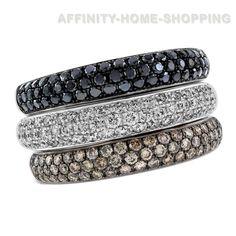 Round Cut Multi-Color Diamond Band 14K White Gold #AffinityHomeShopping #Band