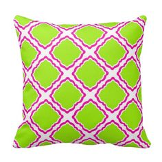 Hot pink and lime lattice pattern pillows