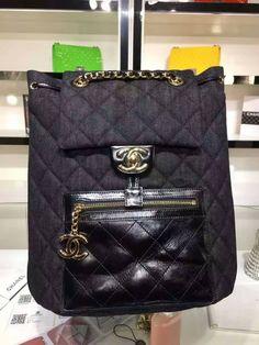 Chanel denim cowhide light gold metal-black backpack size 27x15x35cm 94305  0600CH7 whatsapp +8615503787453. Diana Lee · chanel new bag b4a5342f29731
