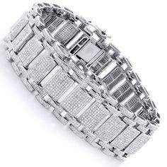 Luxurman 14k Gold 9 3/4ct TDW Men's Pave Diamond Bubble Bracelet | Overstock.com Shopping - The Best Deals on Diamond Bracelets