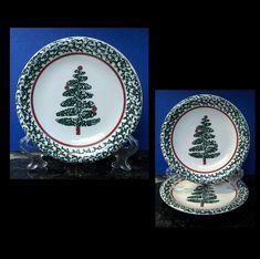 Furio Christmas Tree 1 Dinner Plate 2 Salad Plates Green Sponge Italy Pottery  #Furio