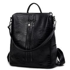 Vintage Women Leather Backpack Fashion Alligator Backpack Casual Ladies