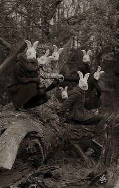 """Bunnyland"" - Photography by Alena Beljakova, Bunny# masks,# wonderland,# creepy ? Film Noir Fotografie, Old Photos, Vintage Photos, Vintage Halloween Photos, Halloween Pictures, Images Terrifiantes, Arte Obscura, Bizarre, Illustration"