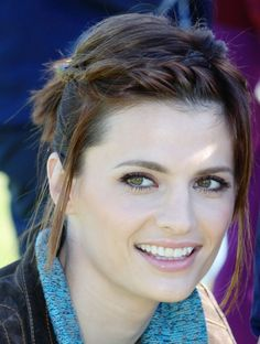 Stana Katic - love her style and her makeup : ) & cute hair here (short hair up-do braid)