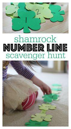 Búsqueda del tesoro de tréboles numéricos. Estupenda actividad para jugar a buscar los tréboles, las rectas numéricas, y mucho más.