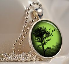 Emerald Sunset Tree Pendant Resin Pendant Necklace Resin Jewelry