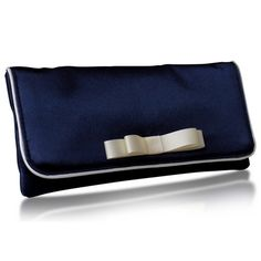 Navy and White Trim Bridal Clutch Bag