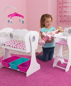 This Doll Cradle & High Chair Set by KidKraft is perfect! #zulilyfinds.   My Angie loves to play Mommy.  She loves this set