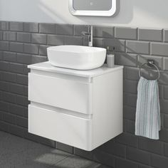 600mm Denver Gloss White Wall Hung Countertop Unit with Colette Basin - soak.com