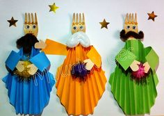 Mauriquices: Os três reis do Oriente Kids Crafts, Diy Crafts To Do, Bible Crafts, Paper Crafts, Christmas Crafts For Kids To Make, Childrens Christmas, Christmas Activities, Epiphany Crafts, Origami