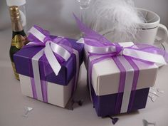 Purple White Two Tone Square Box With Lid Wedding Favour Bo Decorated Ribbons Bridal Crystal Bouquets Cadbury Theme