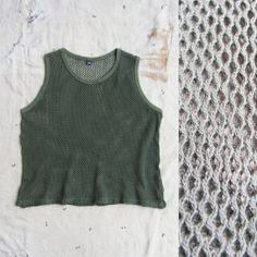 vintage c. 1970s olive drab US Army issue cotton net cropped tank, unisex by MouseTrapVintage, $34.00