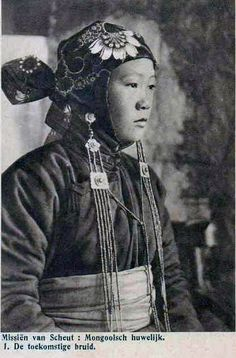 "Mongolia | ""Wedding ~ The Future Bride"".  Scanned postcard image published by  Missiën van Scheut in the 20s."