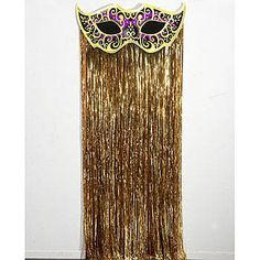 Our Mystique Mask Door Curtain features a purple mask with a gold trim and swirl design and a gold metallic curtain. Each Mystique Mask Door Curtain measures 40 inches wide.