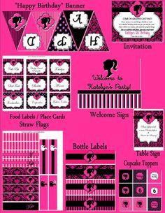 Imprimibles para fiesta de Barbie Silueta.