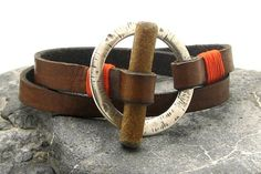 FREE SHIPPING Men's leather bracellet Brown leather by eliziatelye, $29.00