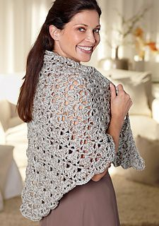 Mother of the bride shawl | free pattern from Lion brand, which is the same as the South bay shawlette, only with a thicker yarn | see link here http://www.ravelry.com/patterns/library/mother-of-the-bride-shawl
