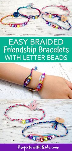 Kids will love making these easy braided friendship bracelets for their BFF's! This is a great DIY jewelry craft for summer camps, playdates or anytime. Easy crafts for kids  #projectswithkids #friendshipbracelets #kidscrafts #jewelrymaking