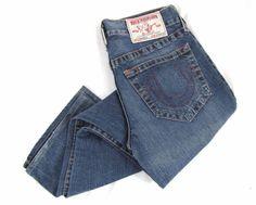 True Religion Jeans 32 x 30 Section 800 Vintage Regular Boot Cut Blue Denim USA #TrueReligion #BootCut