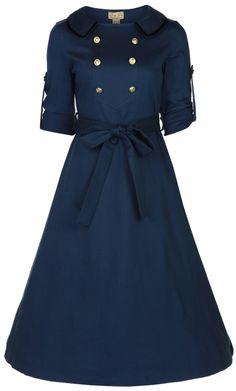 Military Tea Dress  - Lindy Bop 'Velma' Vintage WW2 1940′s Style Double Breasted Military Tea Dress   Link    #fashion #women #womenfashion
