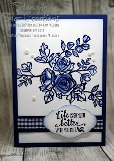 Blue & White classic card with Petal Palette