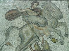 Mosaico de Belerofonte y Pegaso (Museo de Arqueología de Cataluña, Barcelona). Datado en el siglo III d.C., fue hallado en la villa romana de Bell-lloc, en Girona (foto: mmarftrejo).