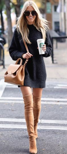 grey sweater dress and thigh high tan suede boots. Street style, street fashion, best street style, OOTD, OOTD Inspo, street style stalking, outfit ideas, what to wear now, Fashion Bloggers, Style, Seasonal Style, Outfit Inspiration, Trends, Looks, Outfits.