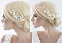 Haarschmuck & Kopfputz - Brautkranz Haarschmuck Süßwasserperlen Haarkranz - ein Designerstück von Princess_Mimi bei DaWanda