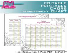 Editable / Printable Chore Chart Responsibility Chart by DigiPrintables on Etsy Weekly Chore Charts, Family Chore Charts, Weekly Chores, Chore List, Chore Chart Teenagers, Chore Chart Kids, Free Printable Behavior Chart, Chore Chart Template, Allowance Chart