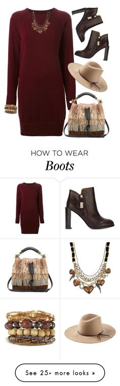 """""""Fringe"""" by justjules2332 on Polyvore featuring Maison Margiela, Chloé, Emilio Pucci, See by Chloé, Betsey Johnson, fringe, booties and sweaterdress"""