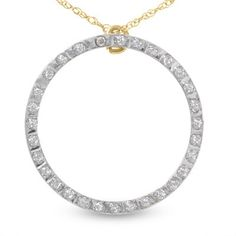 14K Yellow Gold and 1/2 Carat White Genuine Diamond Circle Necklace with 18 inch rolo chain Designed in France by Paris Jewelry