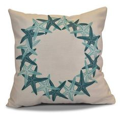 E By Design Starfish Wreath Decorative Pillow Teal/White - PHGN662BL37BL29-16
