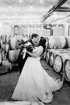 4d328ce5f Barrel Room Kisses at a Stone Tower Winery Wedding Photography by Hannah  Leigh Photography Purple And